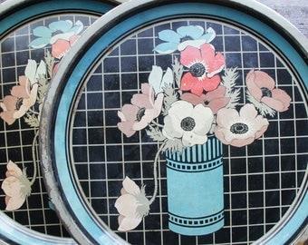 Art Deco Round Metal Serving Trays ~ Set of 2 ~ Vintage ~ Poppies