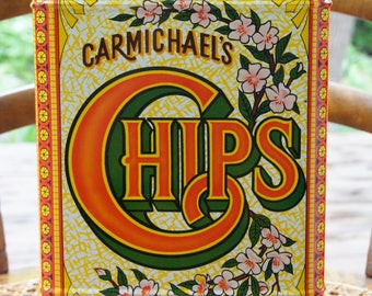 Carmichael's Chips Vintage Tin ~ Hinged Lid ~ Made in Hong Kong ~ Yellow, Green & Red
