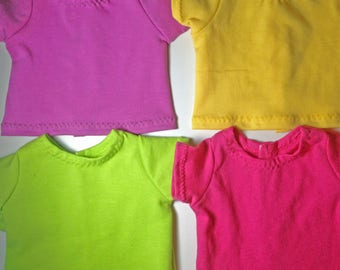 """Four 18"""" doll shirts in SPRING colors- SALE!"""