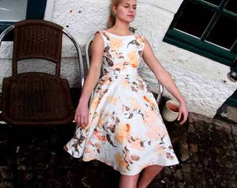 Midi sleeveless summer dress/ floral cotton dress/ tea length dress/ beach dress/ one of a kind dress/ women clothing