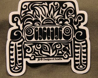 """Sticker - LARGE - """"Jeep Tribal Tattoo"""" - Die Cut Vinyl Sticker - 4"""" x 4"""""""