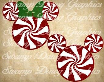 Mickey Svg, Christmas Mickey svg, Christmas Minnie Svg, silhouette, cricut, decal, vinyl, digital file, cut file, minnie svg, peppermint svg