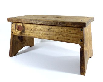 Wooden Step Stool, Rustic Step Stool, Wooden Foot Stool, Footstool, Stepstool, Farmhouse Step Stool, Wood Step Stool, Rustic Foot Stool
