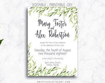 Printable Wedding Invitation, Greenery, Editable, PDF, Printable, Invitation Download, Editable PDF, Wedding printables, Watercolor Wedding