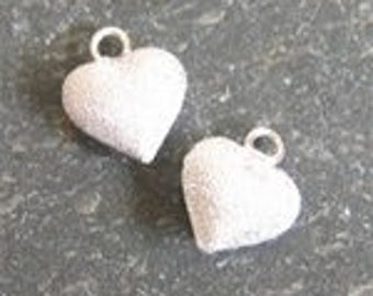 6mm puff heart stardust sterling silver , sterling silver small puffy heart charm.