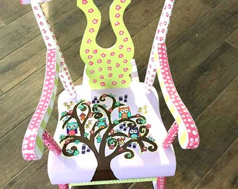 Personalized Child Rocking Chair, Custom Painted Kid Rocking Chair, Hand Painted Rocking Chair, Toddler Rocking Chair, Painted Rocker