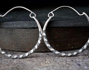 Medium Sterling Hoops , Reversible  Rustic Texture Patterned Hoop Earrings , Hinged Silver Hoops , Silversmith Earrings