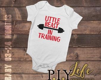 Baby   Little Beast in Training Baby Bodysuit DTG Printing on Demand