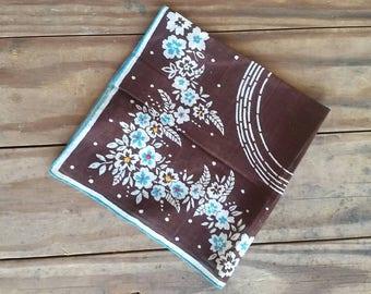 SALE!!! - 10% off - 1940s to 50s style linen brown and turquoise handkerchief (sale price reflected)