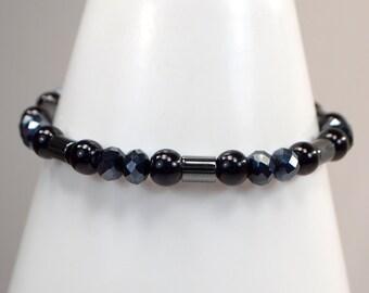 Black Pearl, Crystal & Hematite Bracelet, Black Bracelet, Pearl Stacking Bracelet, Black Crystal Bracelet, Black Jewelry Bracelet (B78)