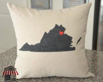 Virginia Pillow Cover - 18 x 18 - Charcoal Gray - Home decor - Throw pillows - Accent pillows - Sic semper tyrannis - decorative pillow