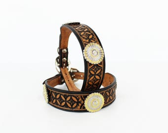 Custom MadcoW Brand Western Inspired Leather K9 Dog Collar with Silver & Gold Aztec Conchos