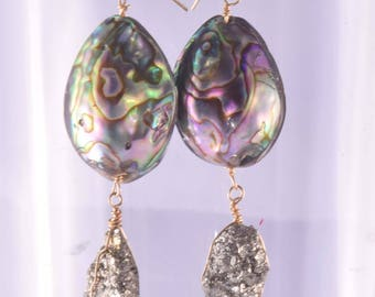 Abalone Pyrite Earrings