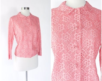vtg 50s coral sheer lace button front blouse / peter pan collar / salmon pink