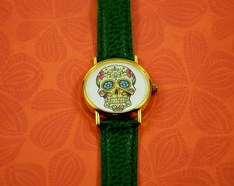 Skull wristwatch, Mexican Skull watch, Day of the Dead watch, Roses sugar skull, Native american art, Day of the dead, Affordable Jewellery