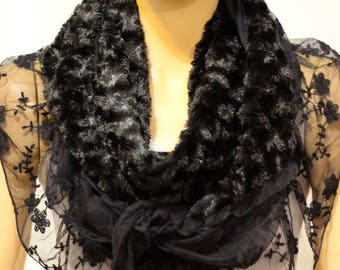 Black Shawl - Spring Scarves - Scarves - Woman Accessories - Woman Scarves - Spring Scarves - triangle shawl - lace