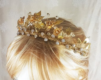 Gold and Crystal Elven Fairy Bridal Tiara