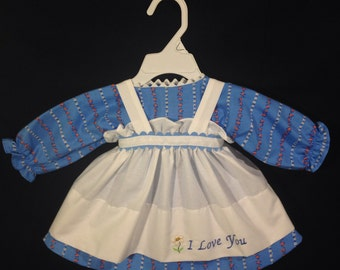 Dress and Apron for 25 inch Raggedy Ann Doll;blue dress with orange and white flowers, embroidered Apron