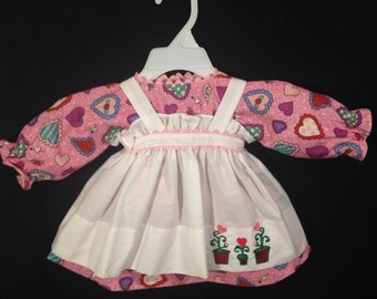 Dress and Apron for 25 inch Raggedy Ann Doll;pink dress with hearts, embroidered apron