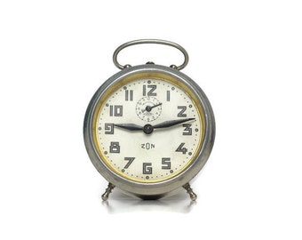 Silver Japy Zon alarm clock from France -- vintage home decor timepiece