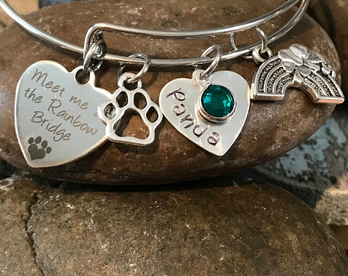 Meet me at the Rainbow bridge pet loss memorial bracelet