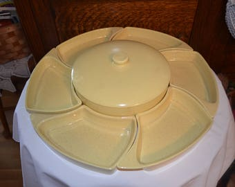 Vintage Canary Yellow Specked Pottery Chip And Dip Set