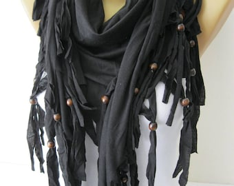 Black Scarf- Shawls-Scarves-gift Ideas For Her Women's Scarves-christmas gift- for her -Fashion accessories
