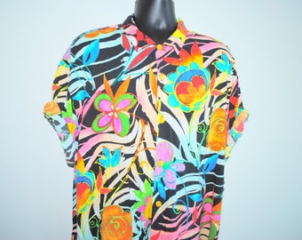80's Jams World Rare Vintage Classic Eye Catching Crazy Colored Hawaiian Beach Style Button Down Surf Shirt