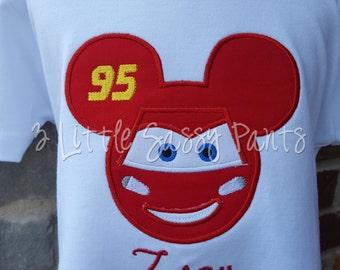 Mickey Mouse Lightning McQueen Mickey Ear Shirt-Embroidered Shirt- Disney Vacation Shirt- Boys Cars Shirt
