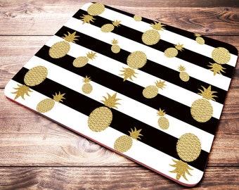 Elegant Black White Stripes Gold Mouse Pad, Pineapple Mouse Pad, Cute Mouse Pad,  Gold