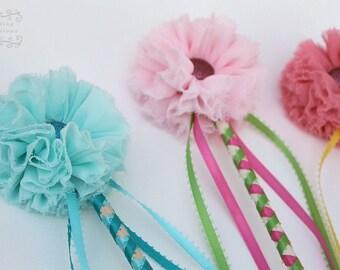 Fairy wand- Girls Flower Wand  magic wand pincess wand kids wand ribbon wand wedding wand pink flower wand