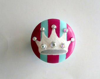 Rhinestone Crown Hand Painted Drawer Knob, Ready to Ship, Bling Sparkle Crown Drawer Pull