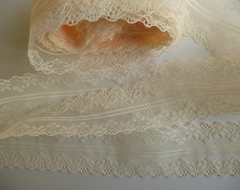 Pale apricot lace trim ribbon. Double edged lace.   Sewing accessories, wedding supplies    4cm wide