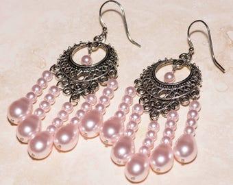 Swarovski pearl chandelier earrings in silver