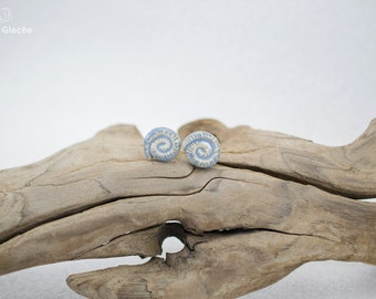 Ceramic earrings, ceramic jewelry, handcrafted, stoneware, blue-grey glaze, sea serpent, shell, serpentine, stainless steel