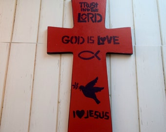 Red Wood Cross Wall Sign With Purple Bible Verse Decor