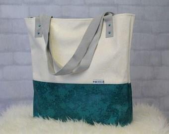Turquoise Bag - Recycled Bag - Teacher Bag - Large Shoulder Bag - Oversized Tote - Leather Handles - Eco Friendly Bag - Market Tote