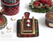 Christmas Chocolate Charlotte Log Layered Fruit Cake in 1/12th miniature dollhouse Christmas Cake