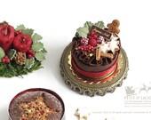 Blackforest Gateau-Xmas- Joyeux Noel- in 1/12th miniature dollhouse Christmas Decoration