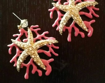Starfish and enamel Coral Metal earrings with Swarowski  1980s Jewelry Made in France perfect conditions
