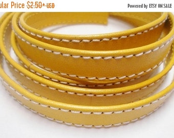 Yellow Goat Double Stitched 10mm Flat Leather Cord, CHOOSE LENGTH