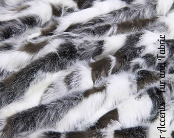 Faux Fur Dark Gray Brown and White Tone Tibetan Fox - New Desert Fox Fur - Fabric - Shag, Crafts, Sewing, Baby & Pet  Photo Props