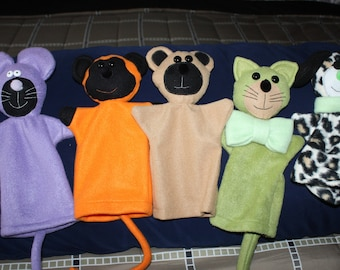 Set of Five Hand Puppets     Dog   Monkey  Bear   Cat   Mouse