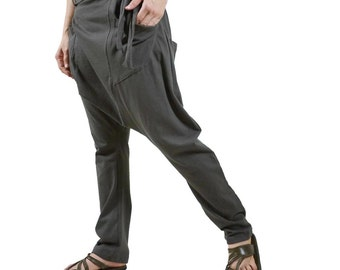 Men Women Funky Ninja Harem Casual Charcoal Stretch Cotton Drop Crotch Pants With Elastic On Back Waist & 4 Patched Pockets - P028