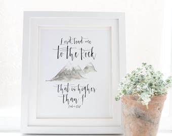 Lord, Lead me to the rock that is higher than I - Psalm 61:2 - Scripture art