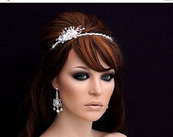Swarovski Crystal Headband , Bridal Headpiece , Bridal Hair Accessory , Wedding Headband , Crystal Bachelorette Headband