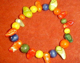 """Jamician Beach"""" Dyed Wood Beads & Colorful Fresh Water Pearls 7 1/2 inch Bracelet FREE SHIPPING"""