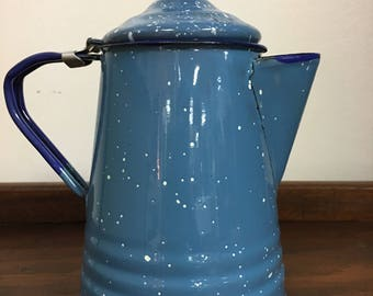 Enamelware blue speckled coffee pot