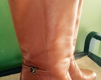 Vintage Women's Tall Leather Boots Size 8 1/2 M Made in Brazil Knee High