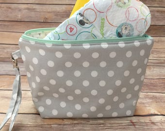 Gray Polka Dot Diaper Clutch, Gender Neutral Baby Gift, Mint and Gray Diaper Bag, Mom to Be Gift, Baby Shower Gift, Baby Gift
